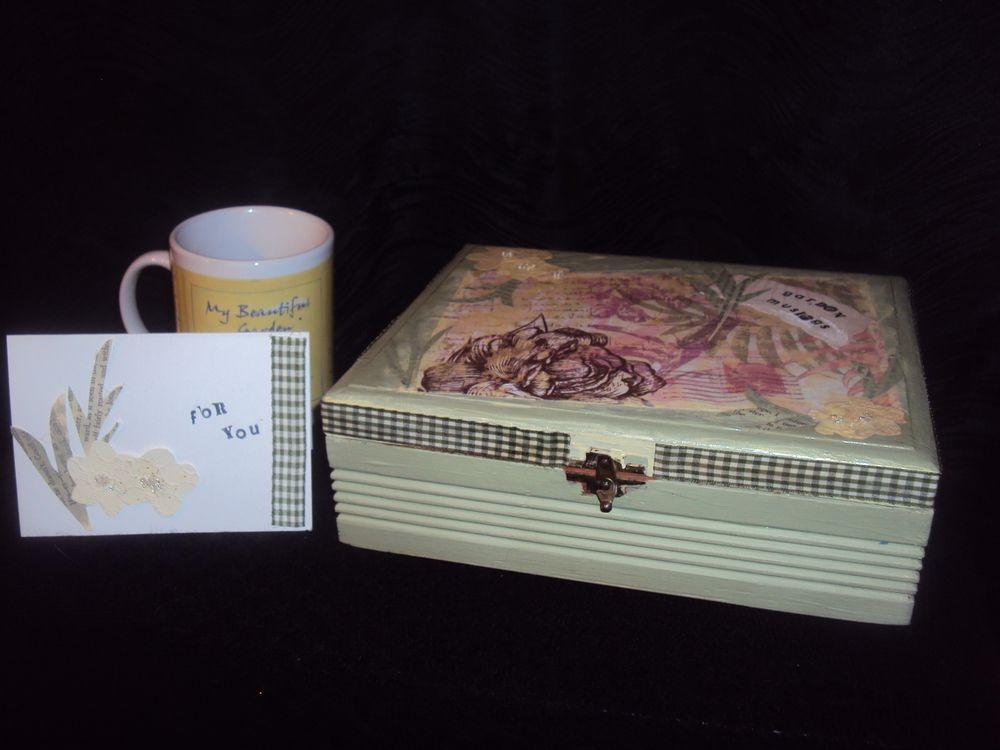 Gardener gift set with box mug notebook pen and card