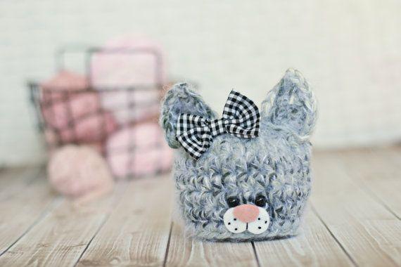 newborn kitten hat .. newborn photo prop .. cat .. by bitOwhimsy