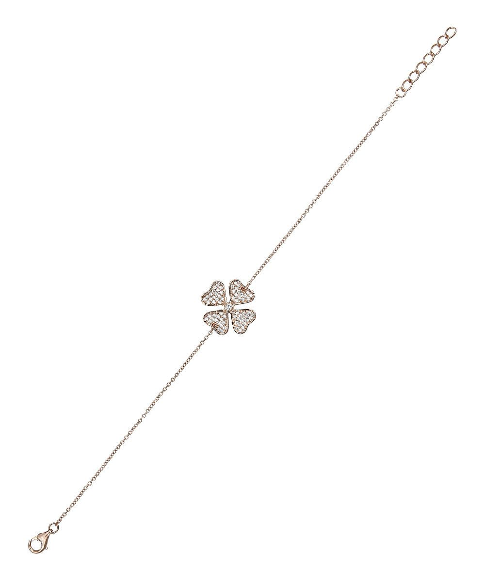 Another great find on #zulily! Rose Gold Pavé Sparkle Clover Charm Bracelet by Yellow Gold, Inc. #zulilyfinds