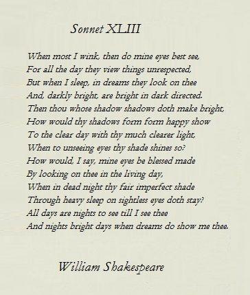 sonnet 43 by shakespeare favorite poems shakespeare shakespeare