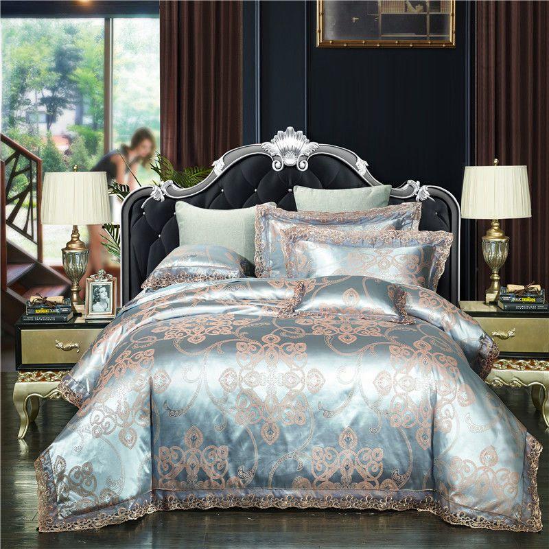 4pc Luxury Light Blue Silk Jacquard King Queen Satin Lace Edge Duvet Cover Set Ivarose Luxurypala Luxury Bedroom Decor Luxury Bedding Sets Bed Linens Luxury