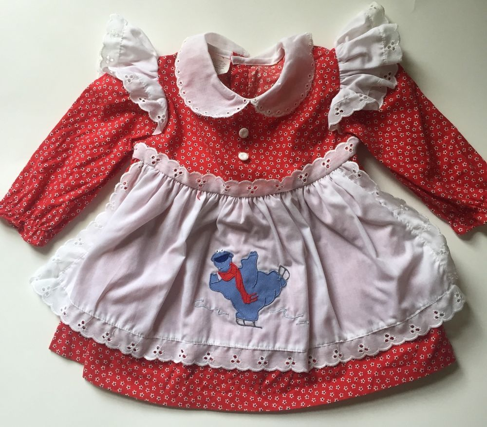 White pinafore apron ebay - Vintage 80s Cookie Monster Pinafore Style White Eyelet Red Floral Baby Dress 1t Ebay