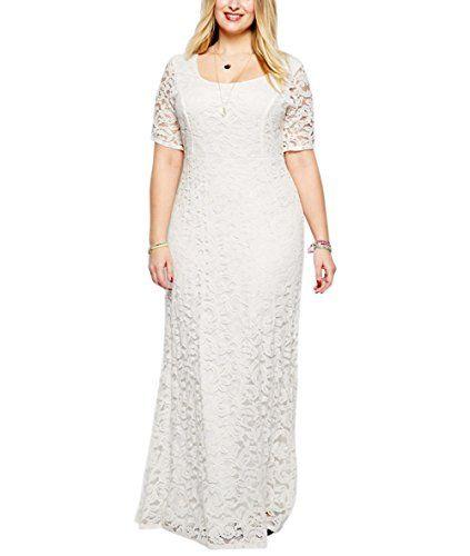 nemidor womens full lace plus size wedding maxi dress white 6xl