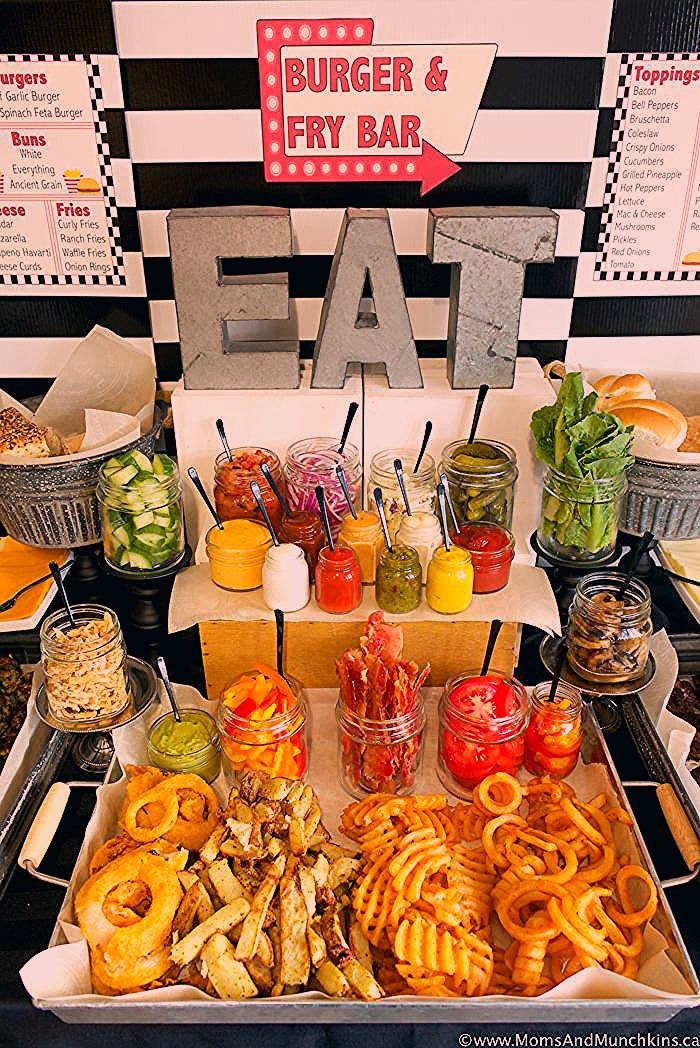 Photo of Burger and Fry Bar Ideas plus Free Printables – Moms & Munchkins
