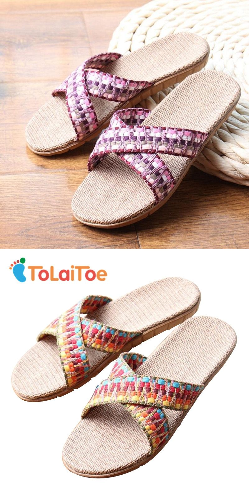 abebf244c9f ToLaiToe Women s Fashion National Linen Home Indoor Slipper Summer Cool  Crosses Belt Silent Sweat Breathable Slipper