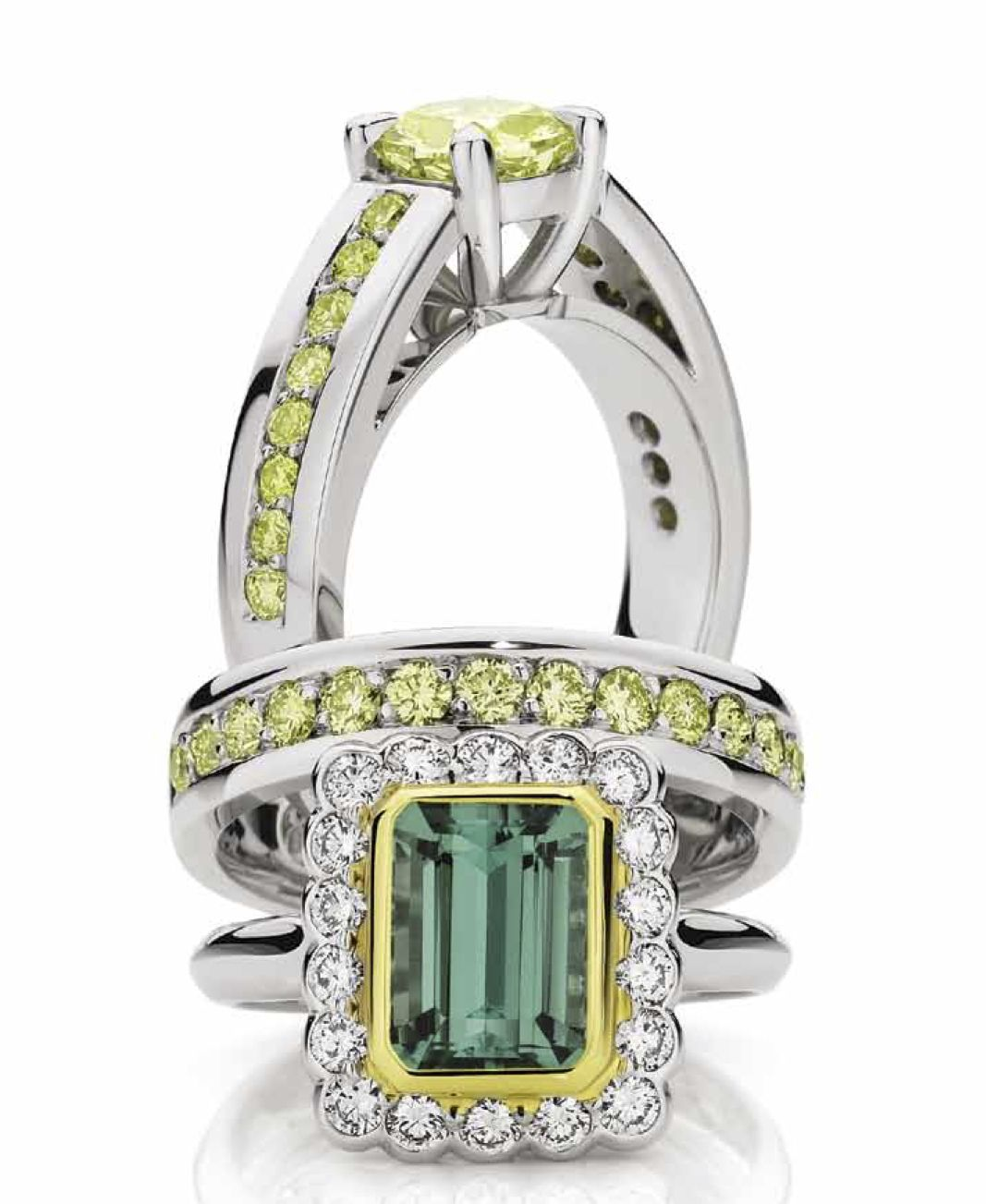 Rings for Rio! Our green Tourmaline and yellow diamond rings would look great on every podium :)