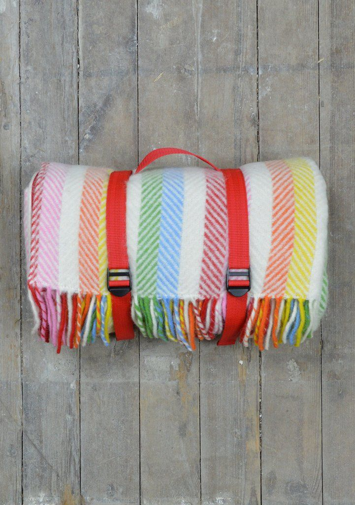 Lifestyle Wool Picnic Blanket in Rainbow Stripe  | The Tartan Blanket Co.