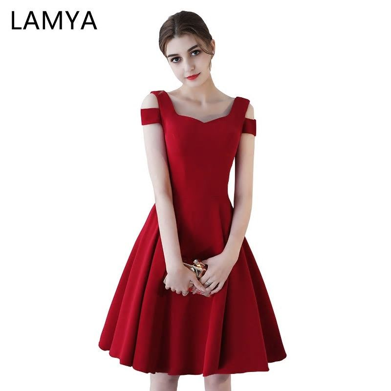 76b284ae84066 LAMYA Satin A Line Cocktail Dresses Ladies Short Elegant Evening ...