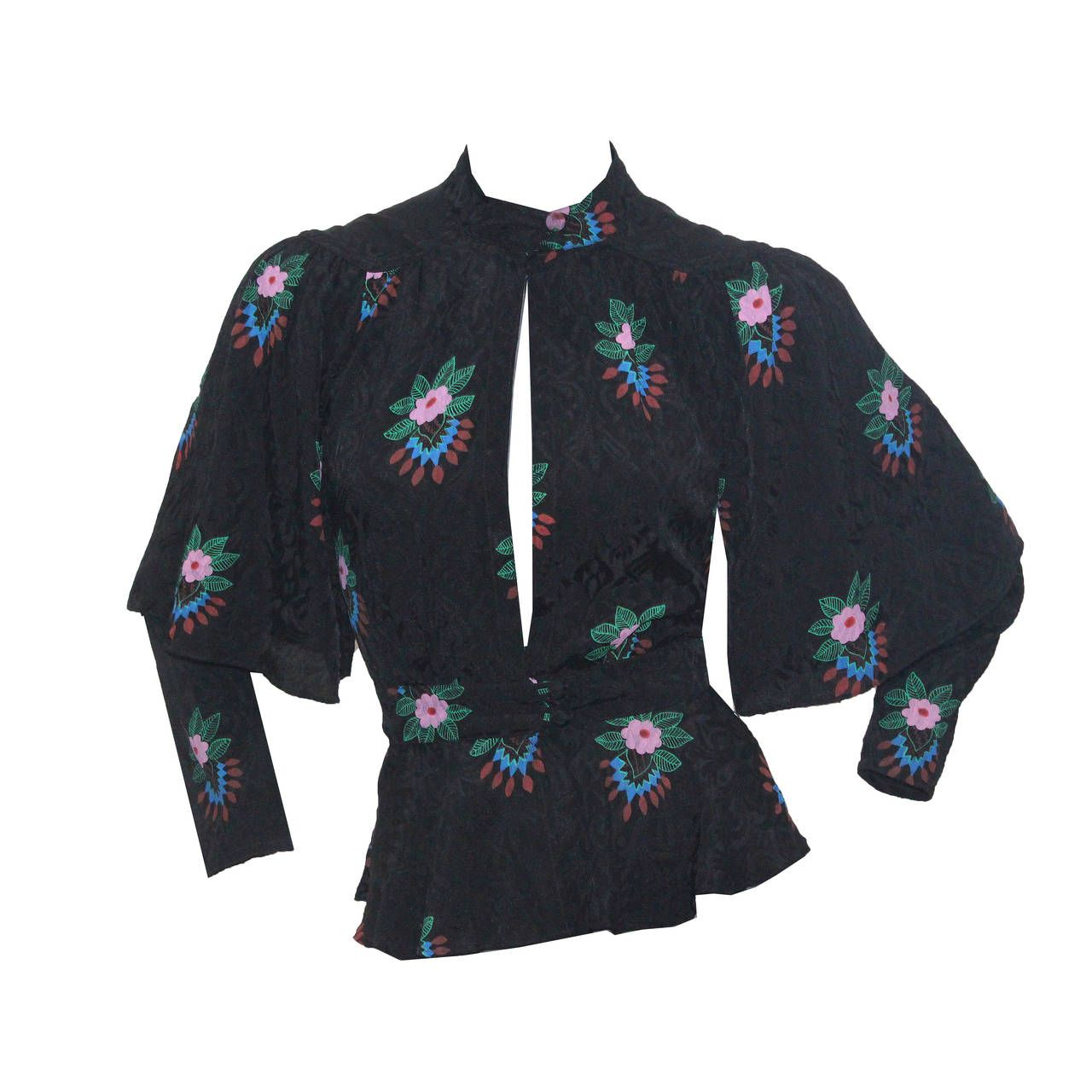 1970s Ossie Clark Peekaboo Blouse With 'Indian Bouquet' Print by Celia Birtwell