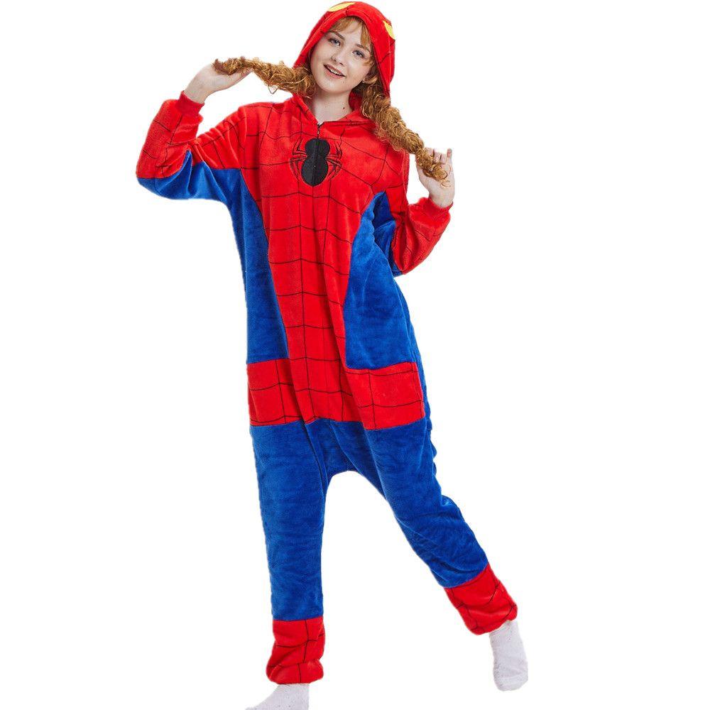 b3f3913b9d Adult Spiderman One Piece Pajama- Party City