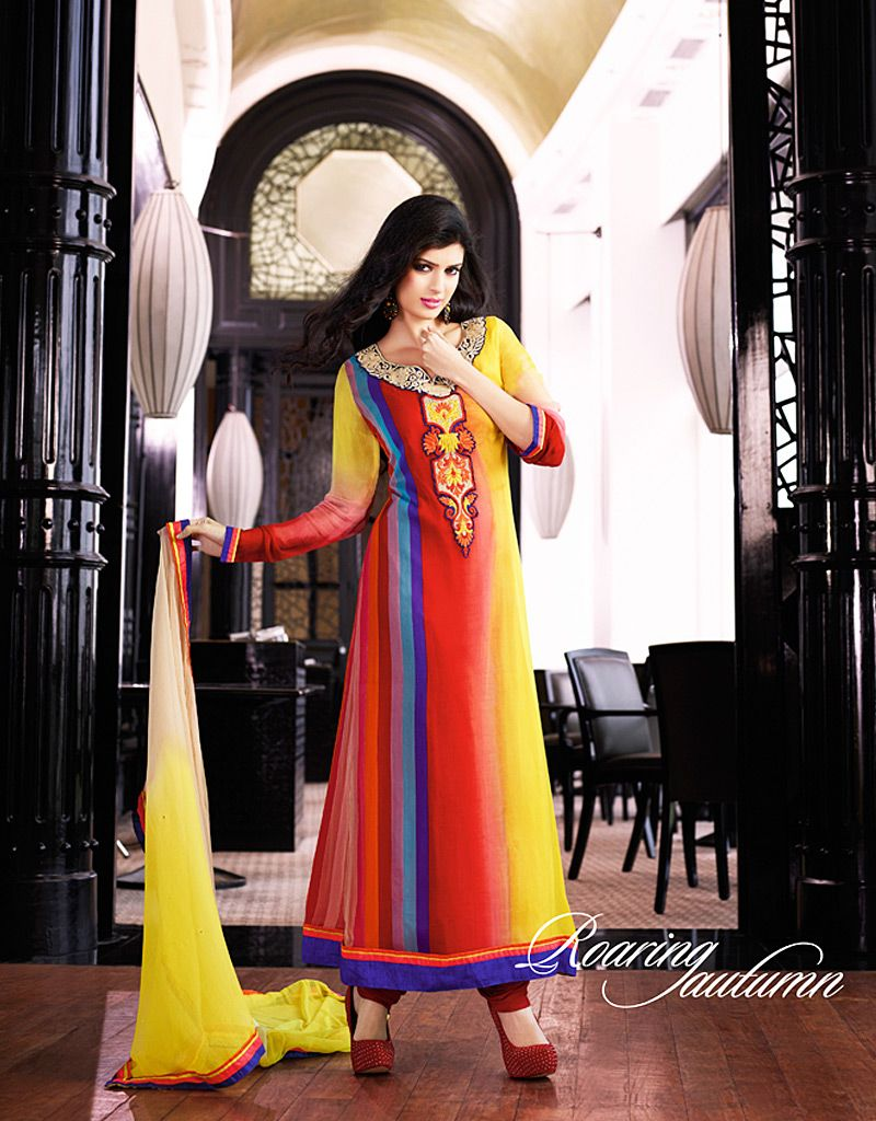 Beautiful Multicolored Patch Border Work Net Designer Churidar Suit Product Code :5794 shop now   http://www.sareesaga.com/beautiful-multicolored-patch-border-work-net-designer-churidar-suit-5794