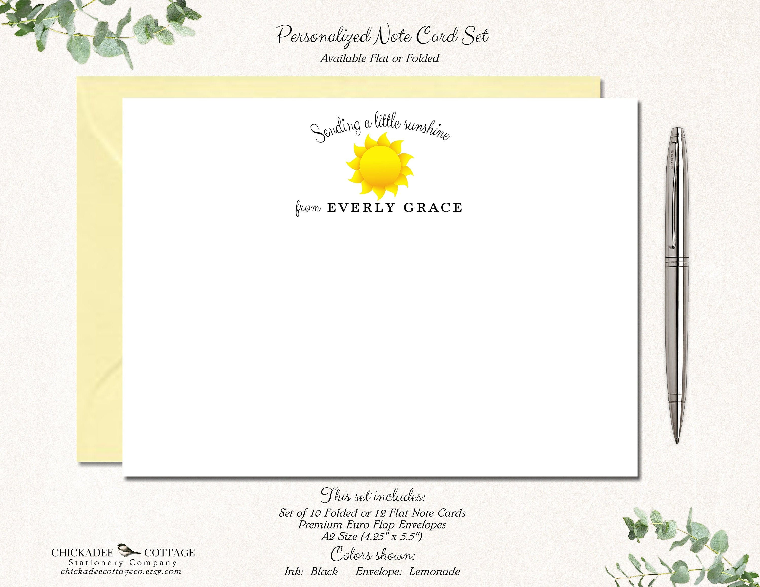 Personalized Kids Note Cards Stationery with envelopes-Set of 12 flat or folded cards