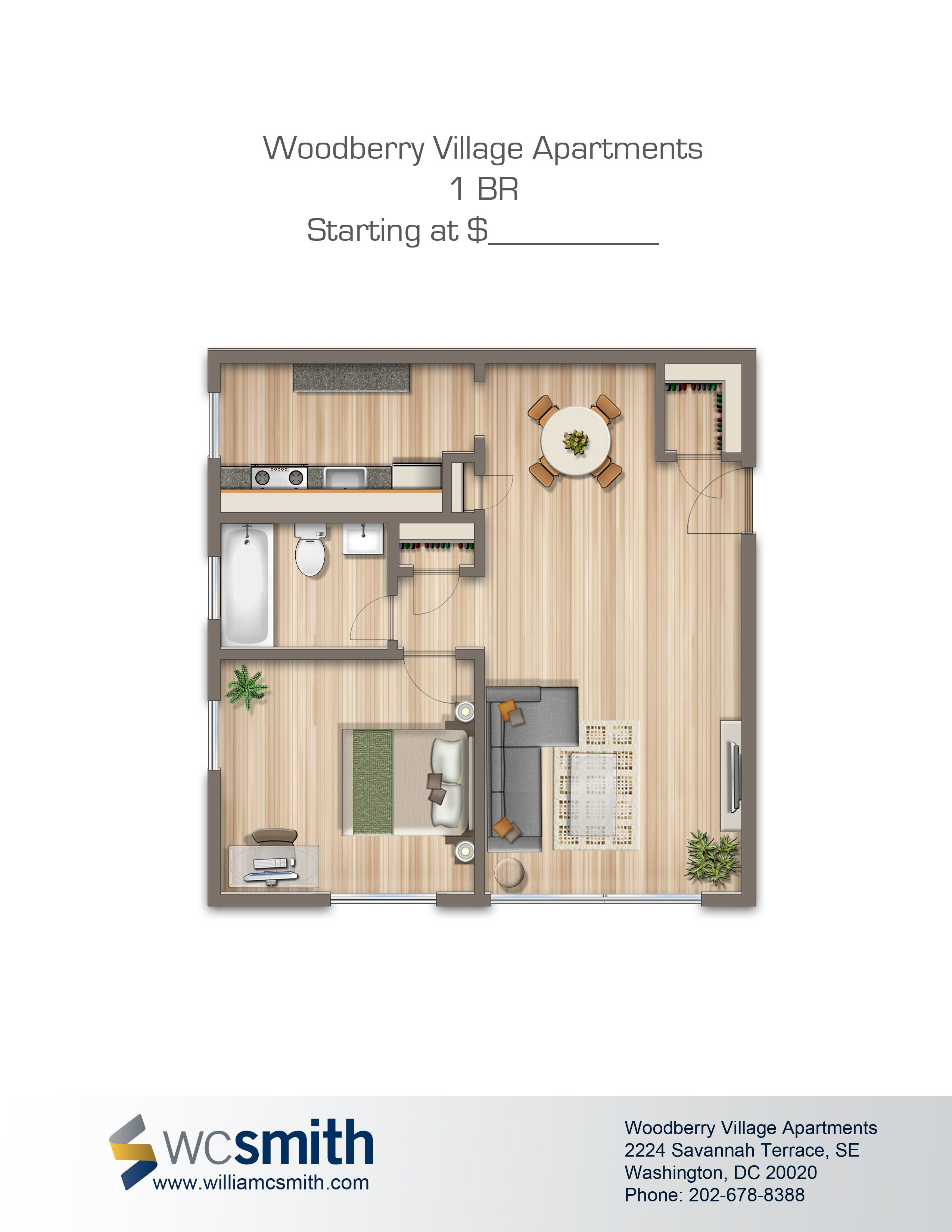 One Bedroom Floor Plan Woodberry Village In Southeast Washington Dc Wc Smith Apartments Villages Of Parklands Rentals