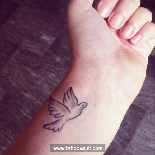 Bird Outline Tattoo On Wrist Wrist Tattoos For Guys Dove Tattoo Dove Tattoos