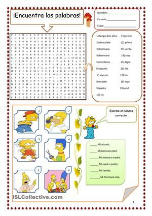 sopa de letras de la familia en espanol - Google Search | Education ...