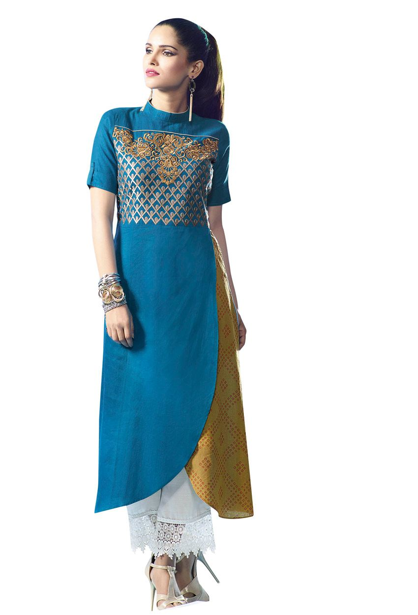 Readymade blue and mustard cotton long kurti nikvik usa