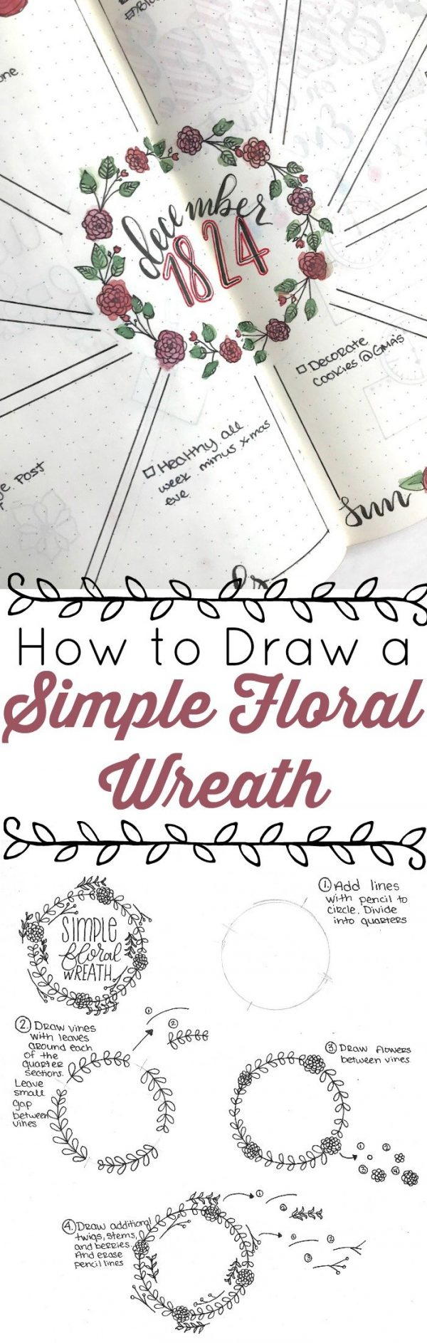 Photo of How to draw a simple floral wreath ⋆ the petite planner