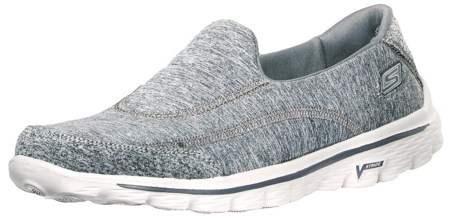 Skechers Go Walk Damen Sneaker Slipper Grau