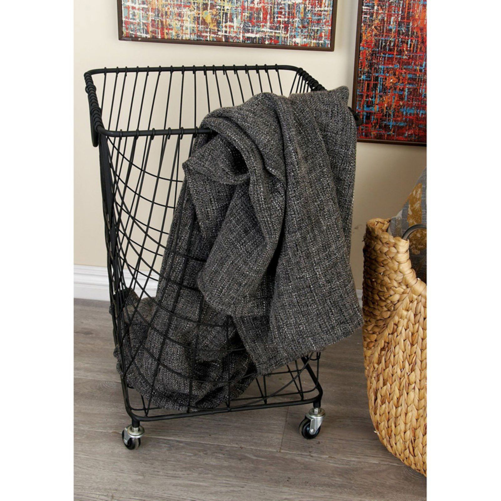 Decmode Metal Roll Hamper Basket Laundry Hamper Vintage Laundry Wicker Laundry Hamper