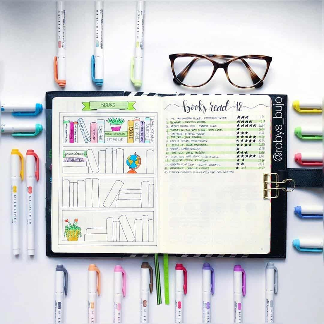 23 Creative Book and Reading trackers for your Bullet journal #bookstoread