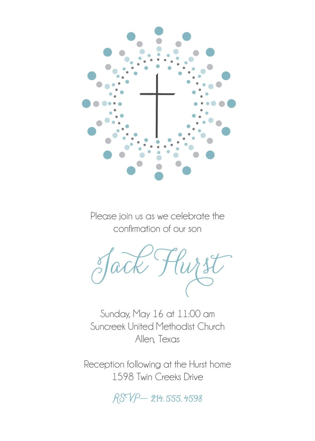 Confirmation invitation First Communion invitation Baptism – Confirmation Party Invitations
