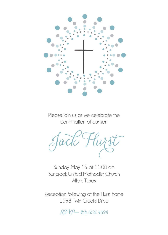 Confirmation invitation First Communion invitation Baptism – Confirmation Party Invitations