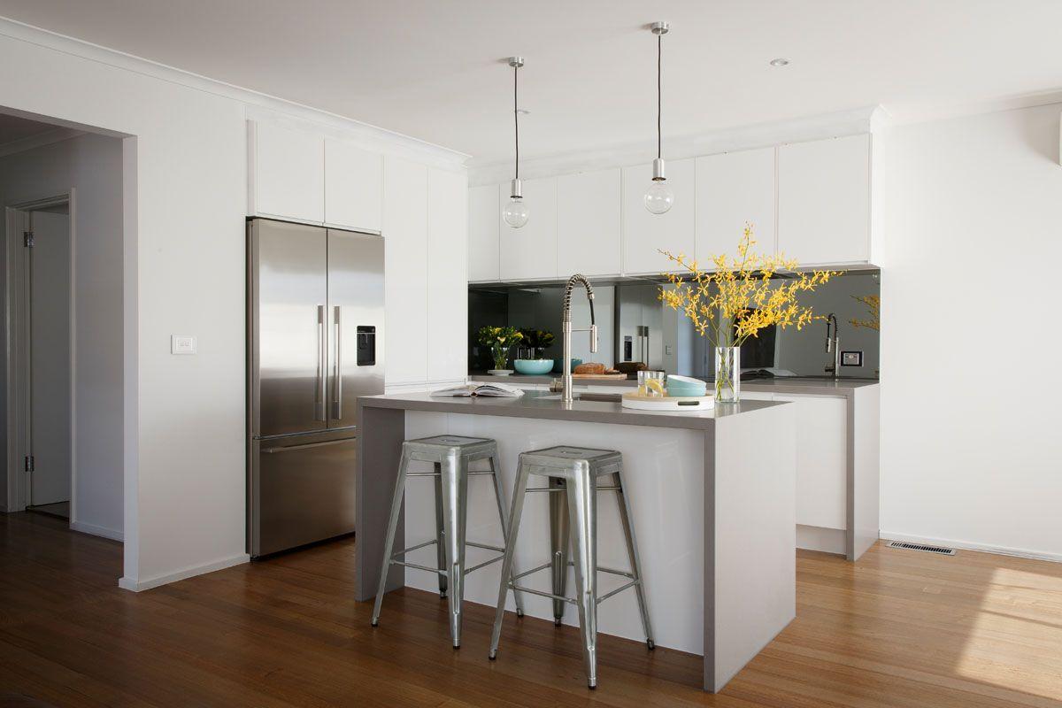 Freedom Kitchens Caesarstone Sleek Concrete Modern Industrial White ...