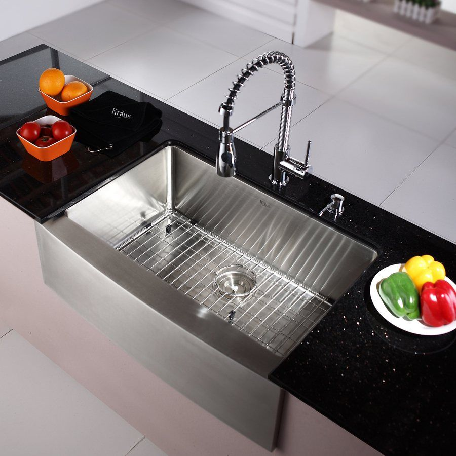 Kraus Standart Pro Farmhouse Apron Front 30 In X 21 In Single Bowl Kitchen Sink All In One Kit Lowes Com Galley Kitchen Remodel Kitchen Remodel Kitchen Remodel Layout 30 inches kitchen sink