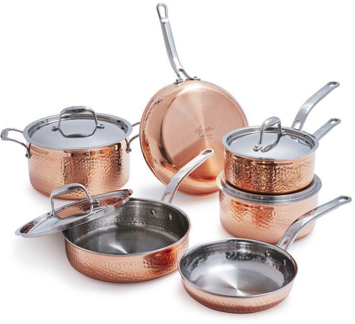 Lagostina Martellata Hammered Copper 10 Piece Set Copper Cookware Set Lagostina Copper Cookware