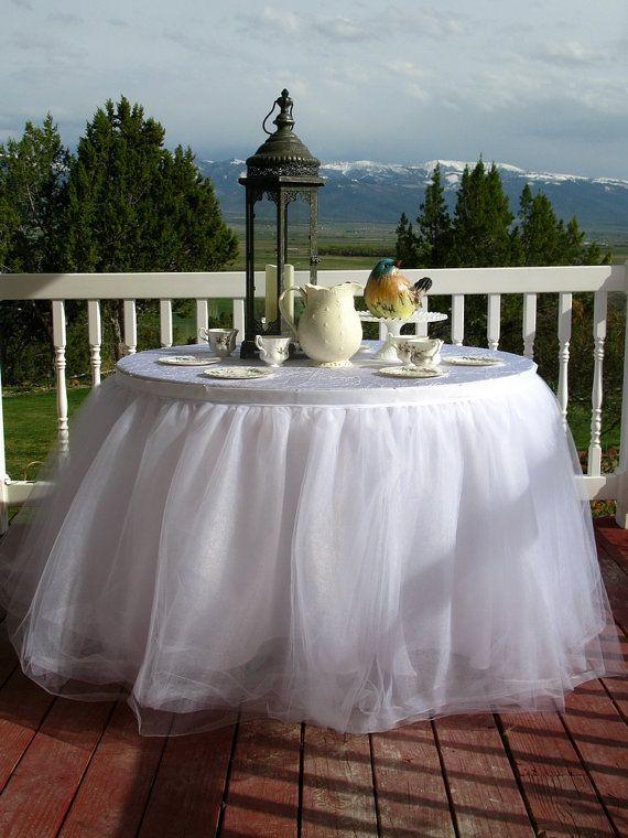 White Tulle Table Skirt, Tutu Tableskirt For Wedding, Birthday Or Cake Table   Custom