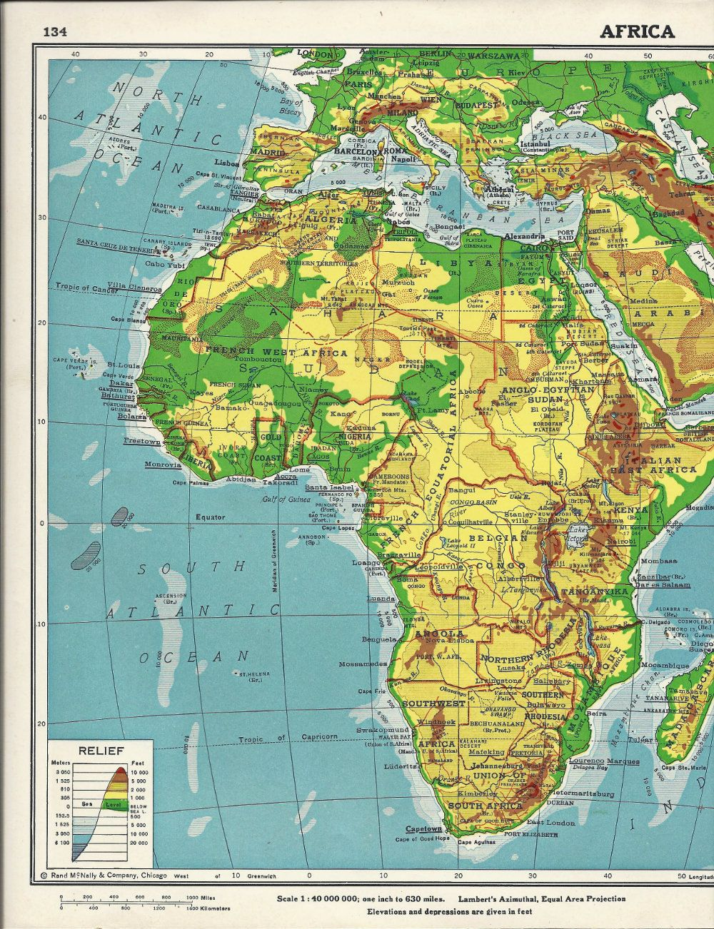 vintage continent of Africa and Europe Railways atlas map page - 1930s