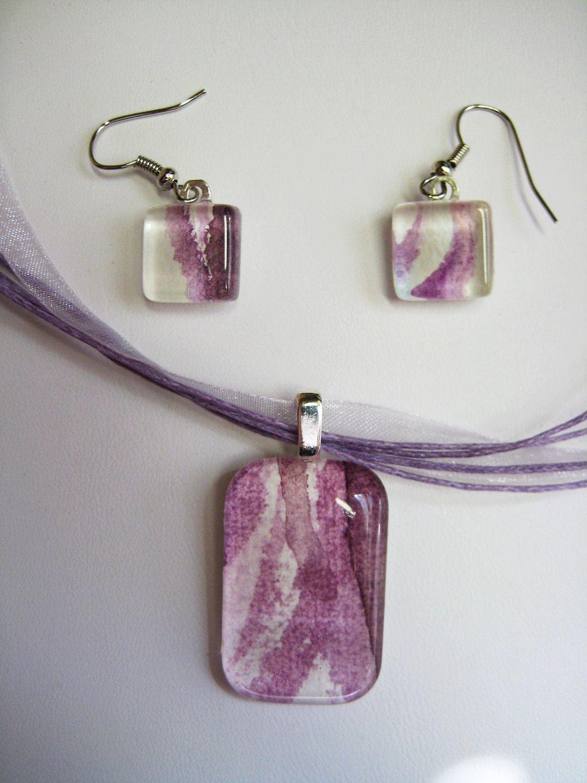 Lavendar lilac pendant necklace earring set watercolor glass tile