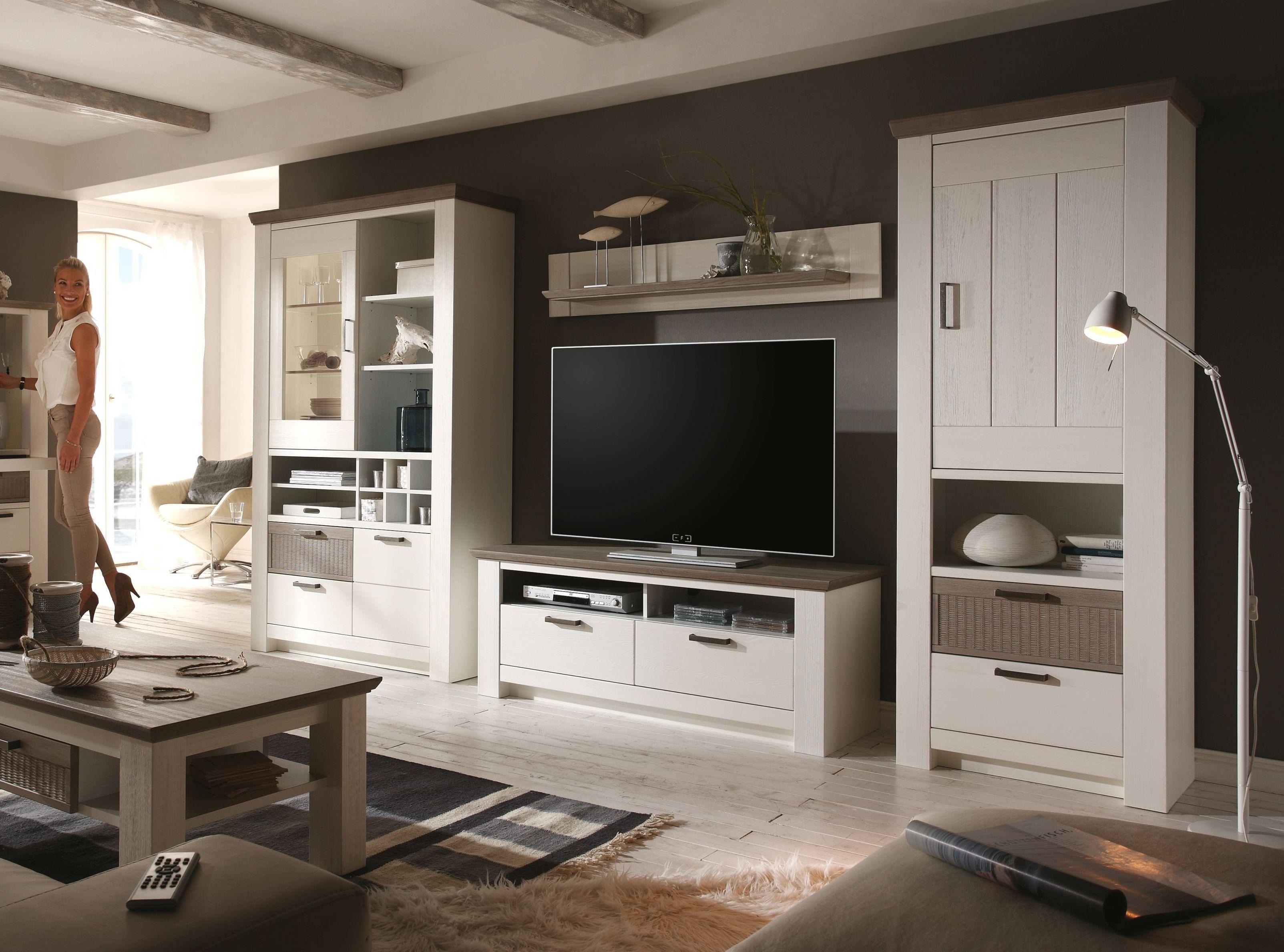 Wohnwand Kiefer Weiss/ Taupe Teilmassiv Woody 41 02636 Holz Landhaus Jetzt  Bestellen Unter: Home Design Ideas