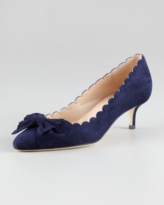 a41554e8e75 Dainty low heels for a mid-summer tea party! Scalloped Bow-Toe Kitten-Heel  Pump by Oscar de la Renta at Neiman Marcus.