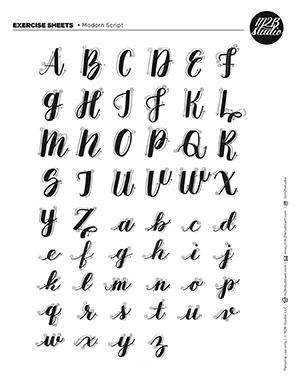 Handmade vector calligraphy tattoo alphabet with numbers