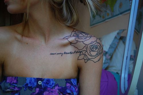 """love every beautiful thing"" tattoo rose"