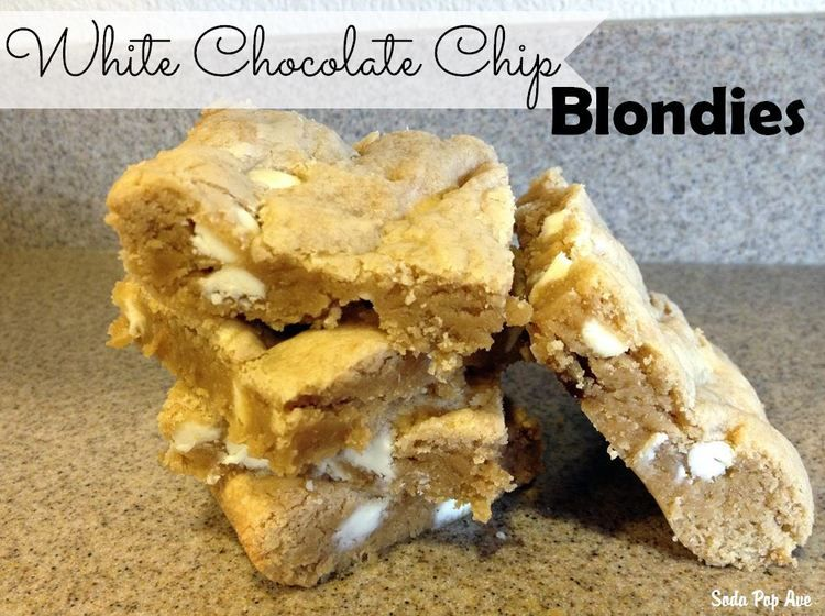 The Best White Chocolate Chip Blondie Brownies www.SodaPopAve.com