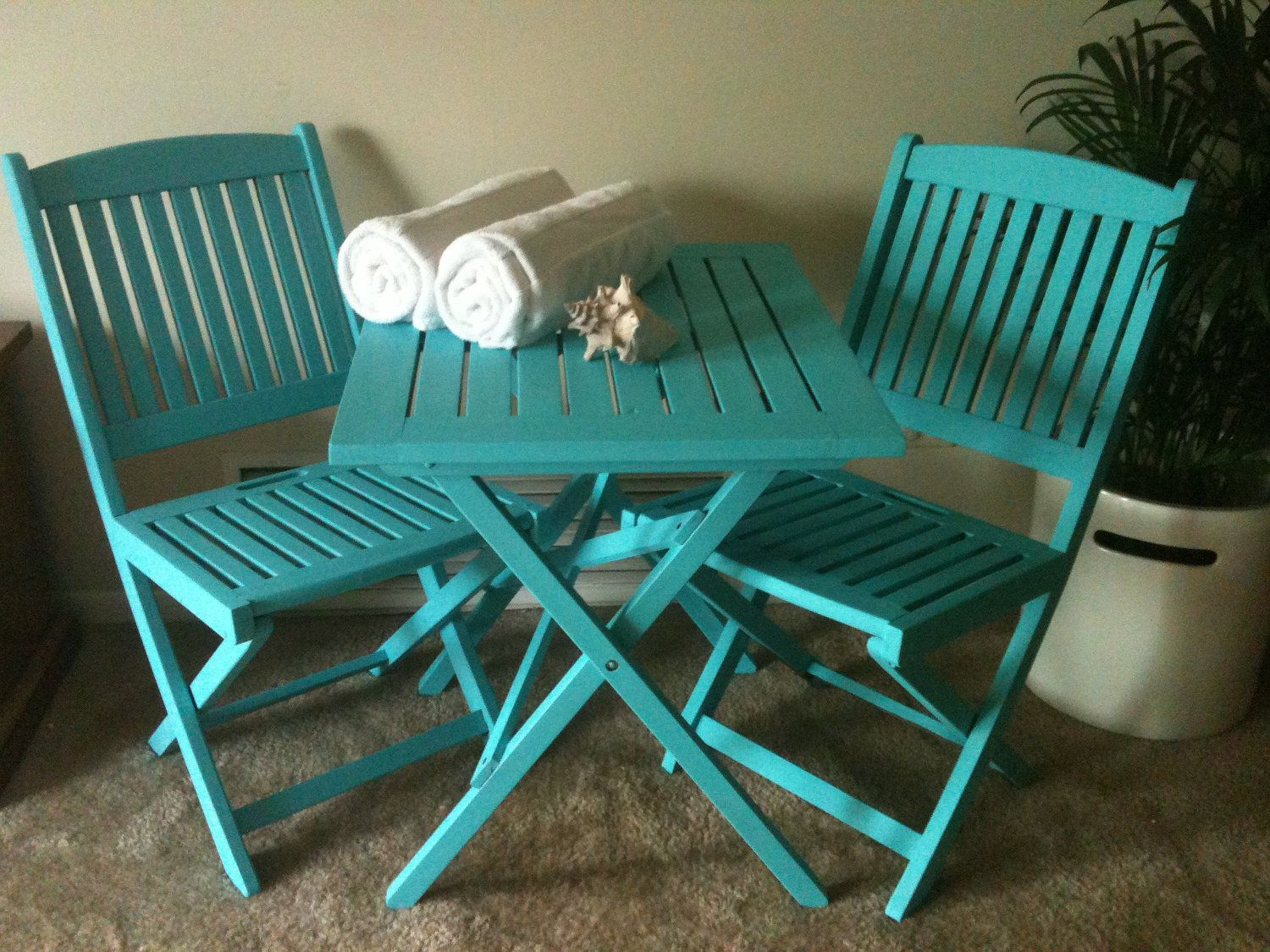 turquoise patio chairs theatre best buy beachy bistro set sb obsession