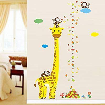 Wandtattoo Maßband Giraffe mit Affen Zoo Motiv für