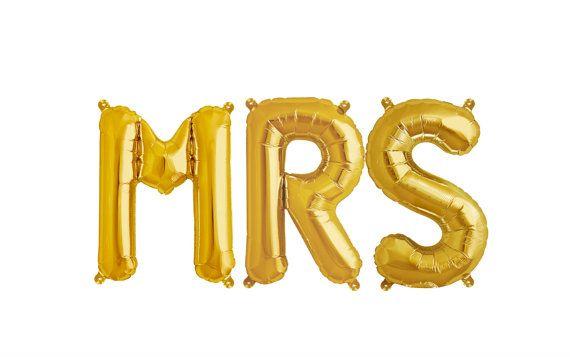 Large MRS Balloon | Bridal Shower Decor | Bride Balloon | Bachelorette Decor | Jumbo MRS Balloons | Gold Letter Balloons | Bridal Shower Ideas | Bridal Shower Decor | MRS Shower Decor
