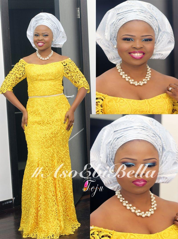 70c58745eb6 Yellow Lace Dress   Silver Gele
