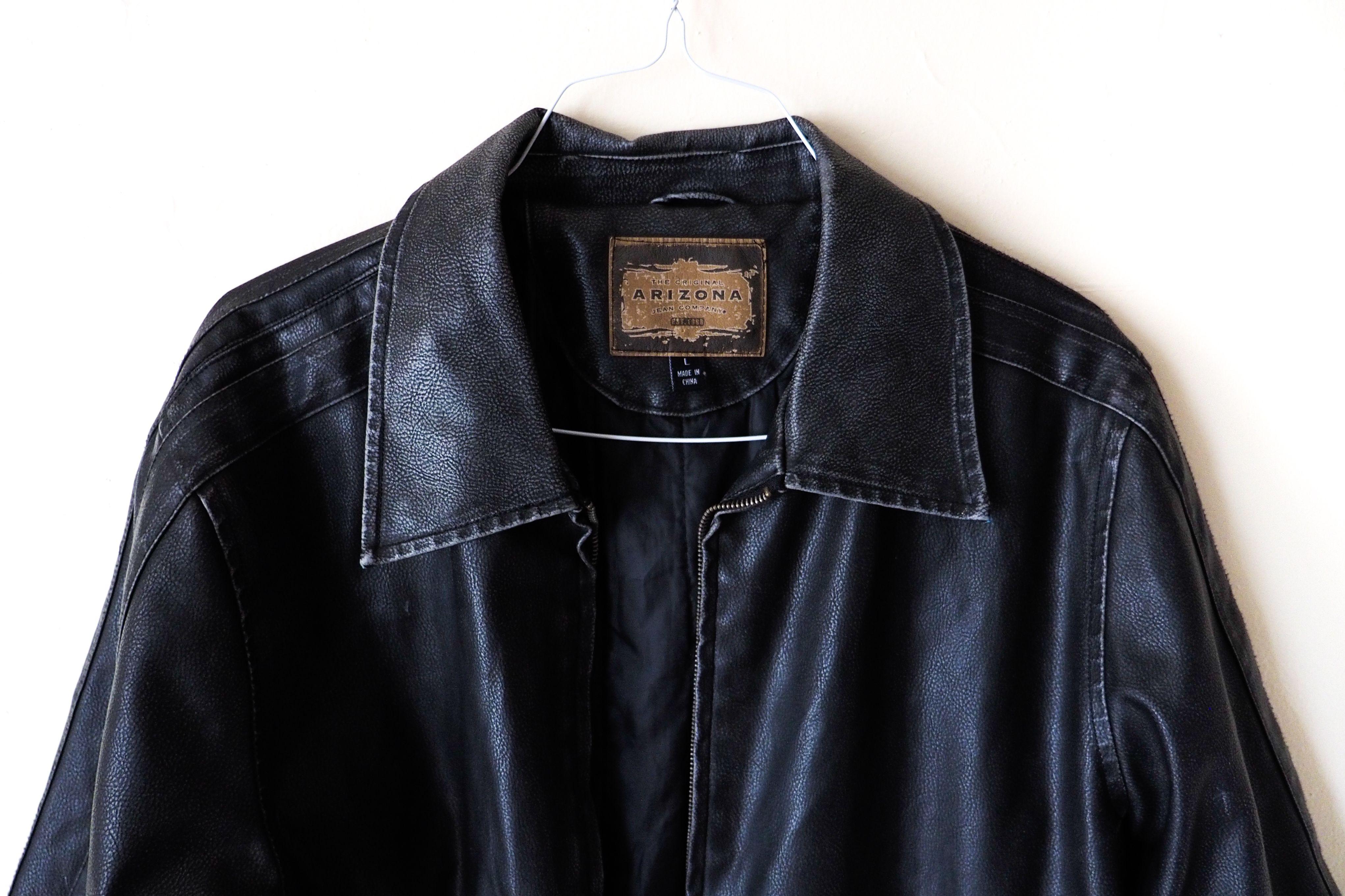 Arizona Original Leather Jacket Mens Black Biker Large Vintage Motor Punk Oversized Hippie Western Hipster Coat Leather Jacket Men Hipster Coat Leather Jacket