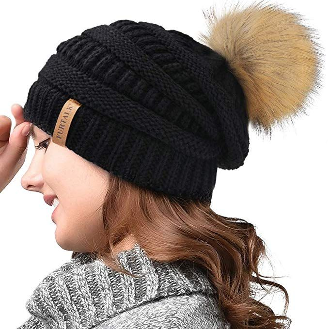 58f9ec8cdd5 FURTALK Womens Winter Knit Beanie Hat Skull Cap Slouchy Beanie Pom Pom Hats  for Women