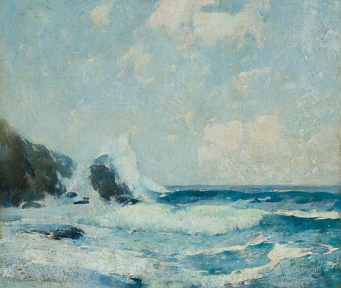 """""""Full Tide Coast of Maine,"""" Emil Carlsen, oil on canvas, 30 x 35"""", private collection."""