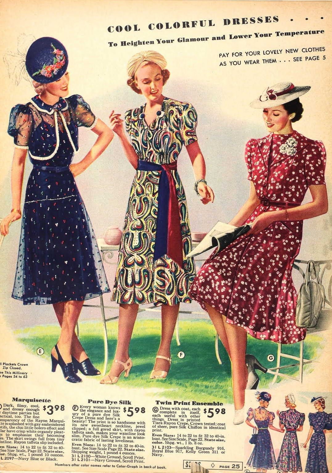 Snapped Garters: 1939 Fashions IN COLOUR! vintage fashion style ...