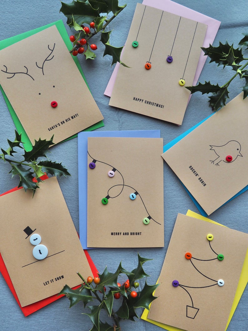 PACK OF 6 Christmas Cards / Handmade Card Set / Fu