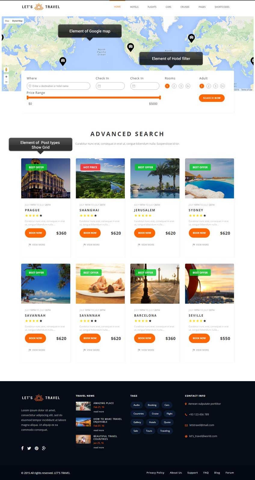 Booking Site Let S Travel Travel Booking Site Wordpress Theme Let S Travel Is