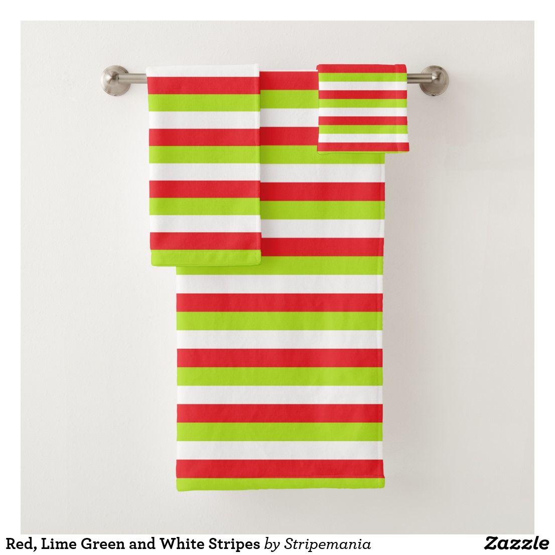 Red Lime Green And White Stripes Bath Towel Set Zazzle Com