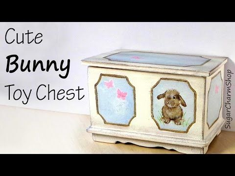 Cute Miniature Bunny Toy Chest Tutorial - YouTube - This amazing miniature was  created by Sugarcharmshop. #miniaturetoys