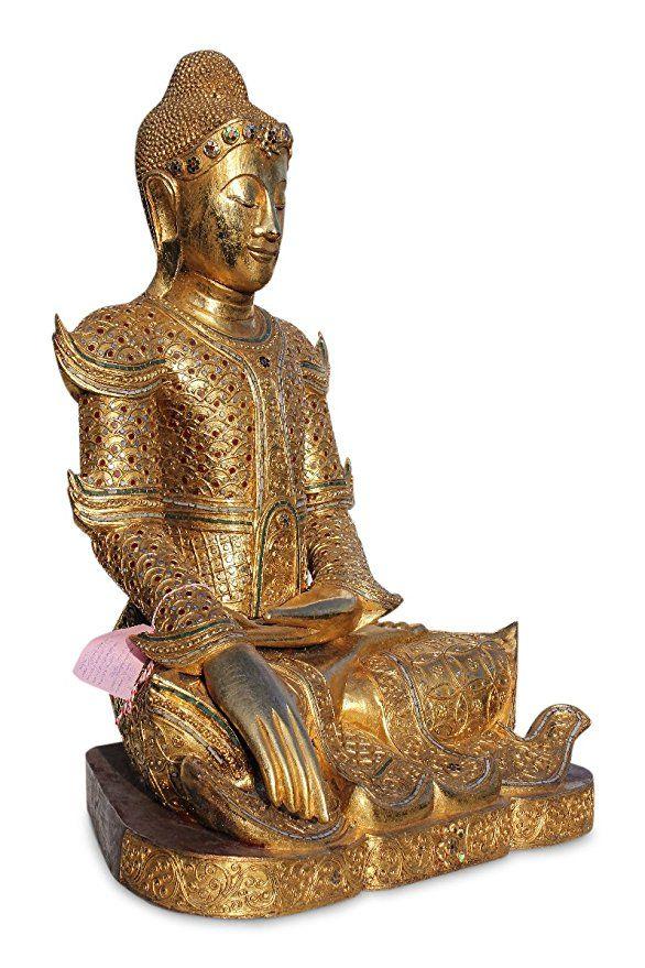 Asien Lifestyle Mandalay Buddha Figur Aus Holz Buddhafigur